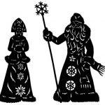 Новогодний трафарет Дед мороз и Снегурочка