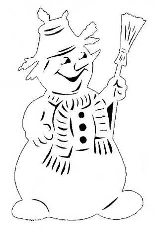 Трафарет на окно снеговик