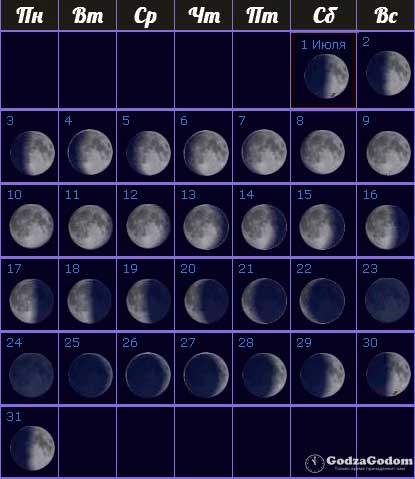 Лунный календарь на июль 2017 года фазы Луны