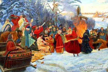Обряд по сжиганию чучела Масленицы