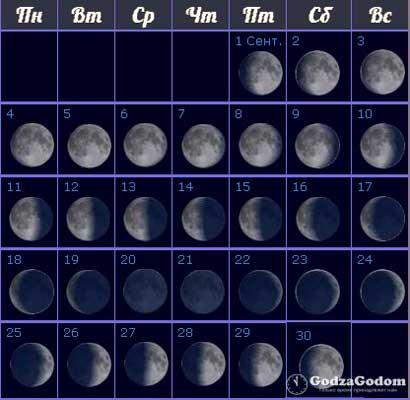 Лунный календарь фаз на сентябрь 2017 г.