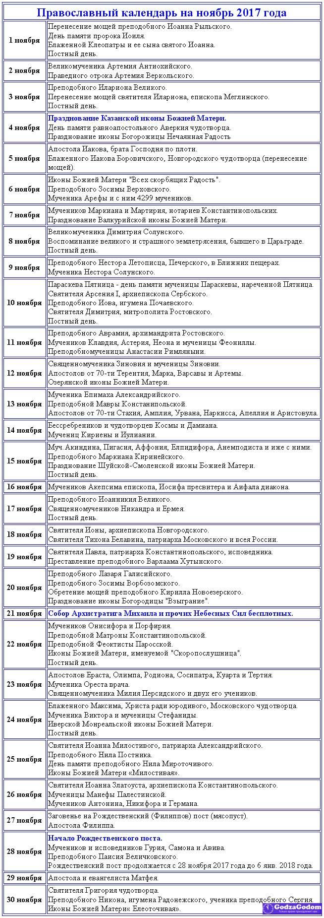 Таблица. Церковный календарь православных праздников и постов на ноябрь 2017 г.
