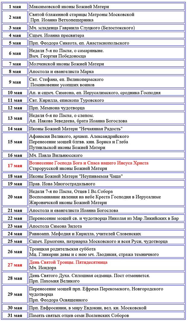 Таблица. Православный календарь церковных праздников (постов) на май 2018 г.