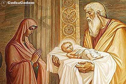 Дева Мария пришла в храм с младенцем