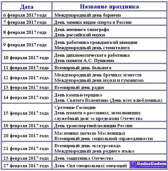 Таблица - календарь с праздниками на февраль 2017 года