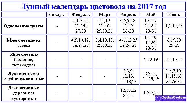 Таблица - лунный календарь садовода и цветовода на 2017 год
