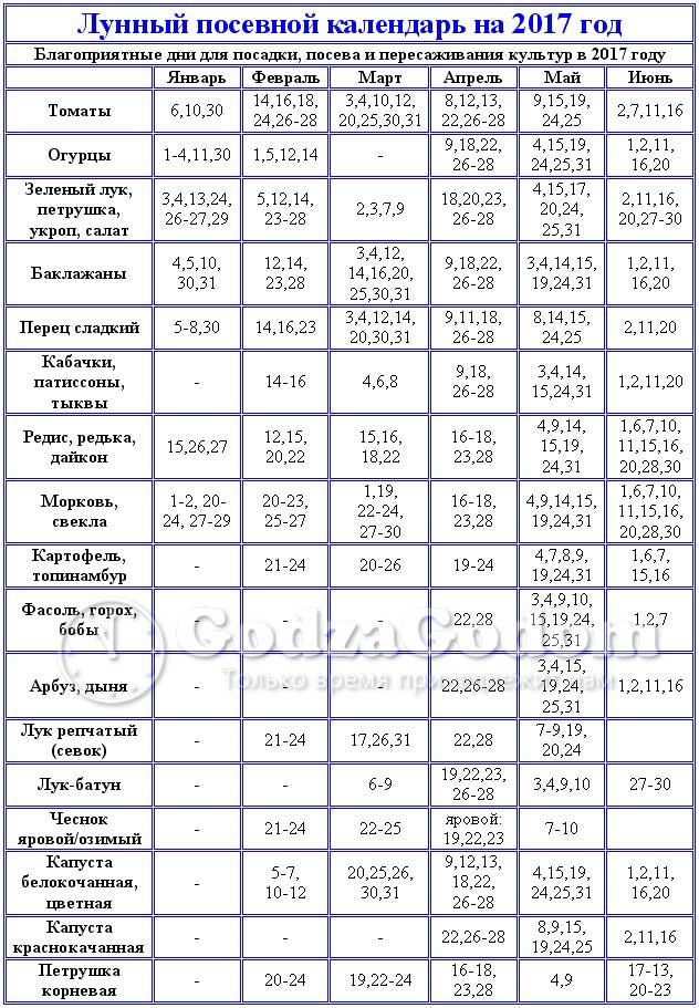 Таблица - посевной календарь на 2017 год (по месяцам)