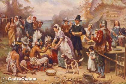 Американские переселенцы благодарят индейцев