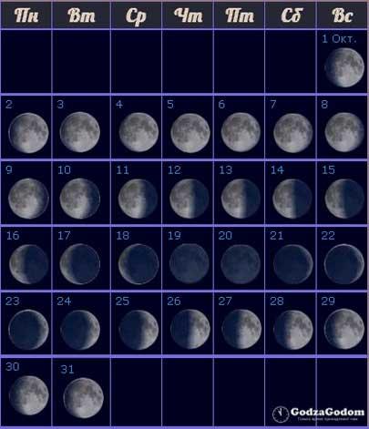 Лунный календарь на октябрь 2017 года — фазы Луны