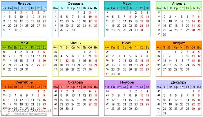 Календарь с утвержденными выходными и праздниками 2018 (Россия)