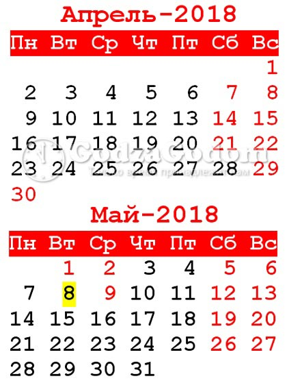 Календарь на май 2018: как отдыхаем в РФ на майские праздники 2018 г.