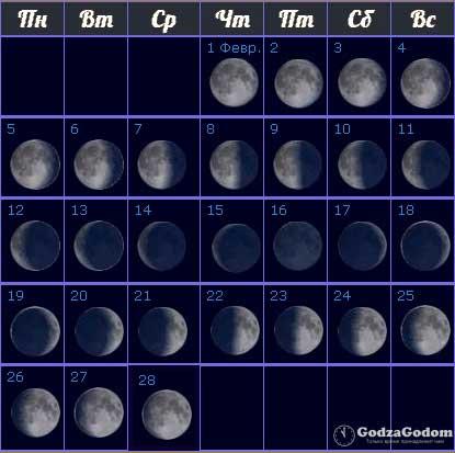 Лунные фазы на февраль 2018 года - календарь