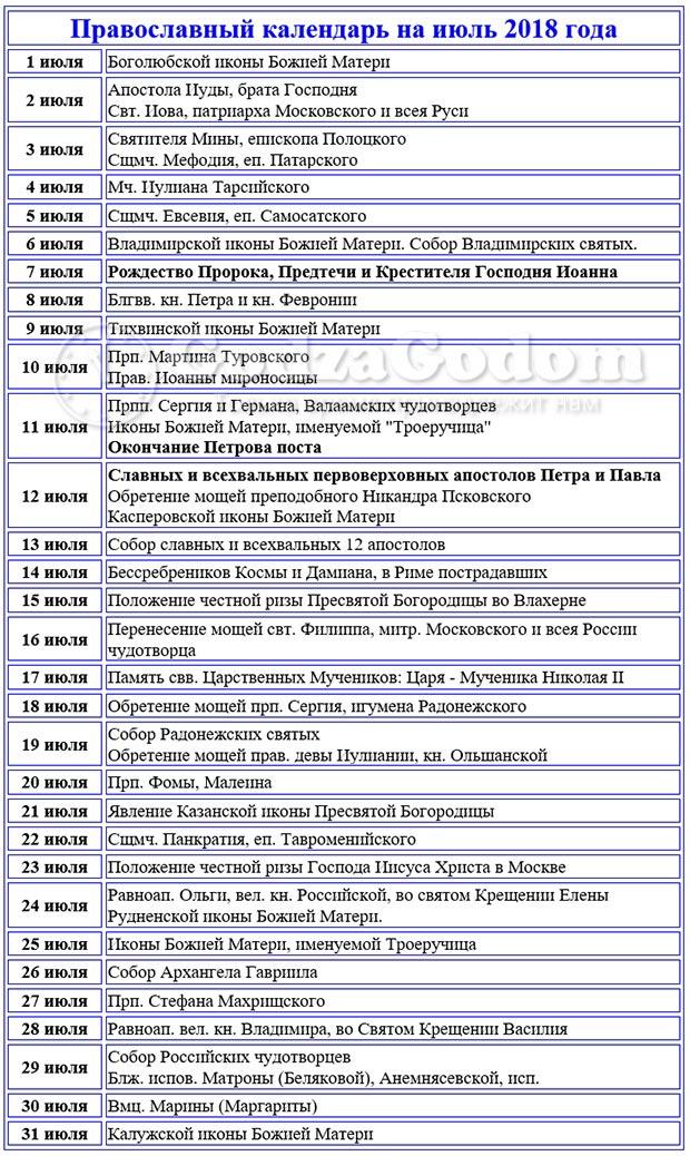 Церковный календарь (таблица) православных постов и праздников на июль 2018 г.
