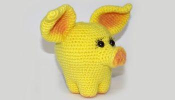 Символ 2019 года – желтая свинья крючком и другие сувениры своими руками