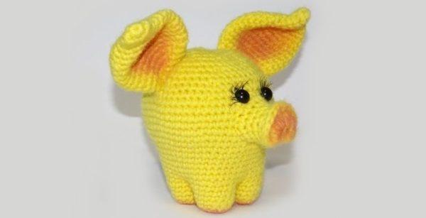 символ 2019 года желтая свинья крючком и другие сувениры своими руками